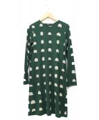 marimekko(マリメッコ)の古着「イタリアテキスタイルジャージーワンピース」|グリーン