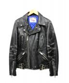 KEITH&THOMAS(キースアンドトーマス)の古着「ダブルライダースレザージャケット」|ブラック