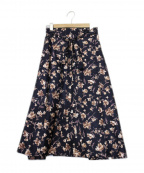 THE IRON(アイロン)の古着「花柄ラップスカート」 ネイビー