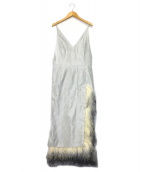 IRENE(アイレネ)の古着「フェザートライブロングワンピース」|ホワイト×グレー