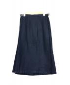 ONEIL OF DUBLIN(オニール オブ ダブリン)の古着「ウールラッププリーツスカート」|ネイビー