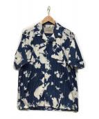 Casely-Hayford(ケイスリーヘイフォード)の古着「ブリーチピンストライプS/Sボーリングシャツ」|ブルー×ホワイト