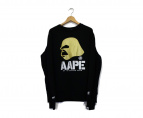 AAPE BY A BATHING APE(エーエイプ バイアベイシングエイプ)の古着「プリントスウェット」|ブラック