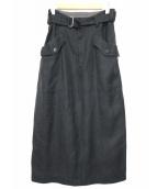 Ys(ワイズ)の古着「ベルト付リネンロングスカート」|ブラック