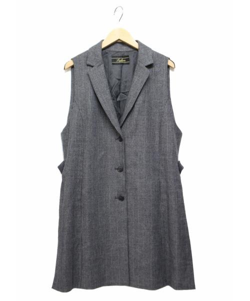 LEILIAN(レリアン)LEILIAN (レリアン) グレンチェックロングベスト グレー サイズ:13+の古着・服飾アイテム