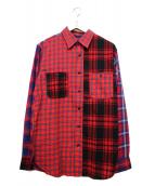 GAIJIN MADE(ガイジンメイド)の古着「パッチワーク長袖シャツ」|レッド