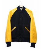 McCoy Sportswear(マッコイ スポーツウエア)の古着「袖レザーブルゾン」|ネイビー×イエロー