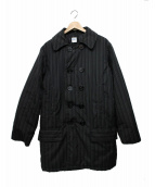 POST OALLS(ポストオーバーオールズ)の古着「中綿ピーコートジャケット」 ブラック