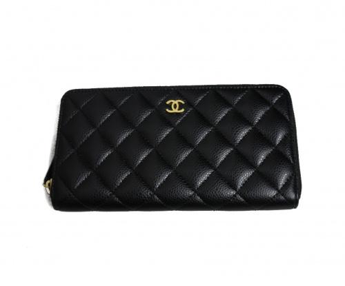 CHANEL(シャネル)CHANEL (シャネル) ラウンドファスナー長財布 ブラック マトラッセ 24615547 キャビアスキンの古着・服飾アイテム