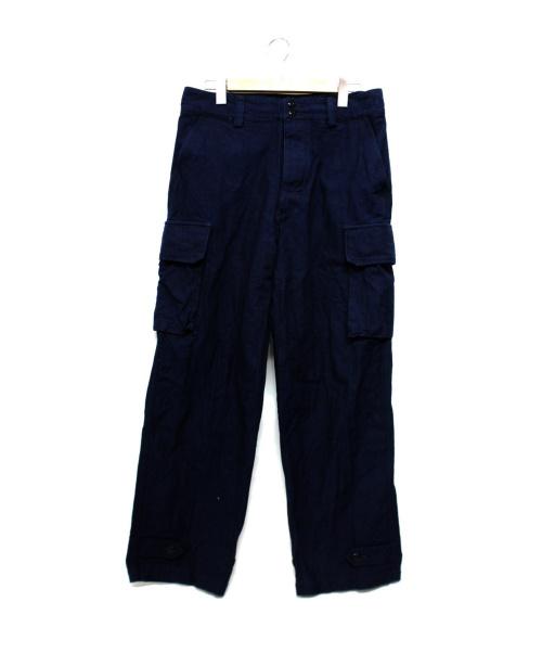 BONCOURA(ボンクラ)BONCOURA (ボンクラ) ヘリンボーンカーゴパンツ インディゴ サイズ:3の古着・服飾アイテム