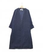 PLAIN PEOPLE(プレインピープル)の古着「ノーカラーVネックコート」|ネイビー