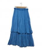 SHIZUKA KOMURO(シズカコムロ)の古着「テレコフレアマキシスカート」|ブルー