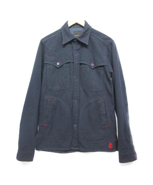 Hysteric Glamour(ヒステリックグラマー)Hysteric Glamour (ヒステリックグラマー) ウールCPOシャツジャケット ネイビー サイズ:Mの古着・服飾アイテム
