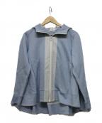 YORI(ヨリ)の古着「タックフレアパーカ」|スカイブルー
