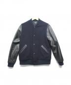 A.P.C.(アーペーセー)の古着「アームレザースタジャン」|ネイビー×ブラック