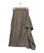 ()の古着「チェックウェーブスカート」|ベージュ×ネイビー
