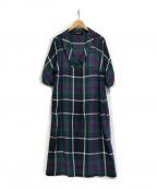 SHIZUKA KOMURO(シズカコムロ)の古着「リネンチェックワンピース」|ネイビー