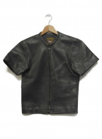 VANSON(バンソン)の古着「パンチング半袖レザージャケット」 ブラック