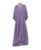 DOUBLE STANDARD CLOTHING(ダブルスタンダードクロージング)の古着「ワッシャーサテンワンピース」|パープル