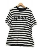()の古着「Stripe Applique S/S Top」 ブラック×ホワイト