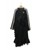 adidas Originals(アディダスオリジナル)の古着「サテンフリルアシンメトリーワンピース」|ブラック