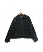 SHIZUKA KOMURO(シズカコムロ)の古着「タフタ小花刺繍ブルゾン」|ブラック