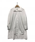 CABAN(キャバン)の古着「コットンハイネックシャツドレス」 ホワイト