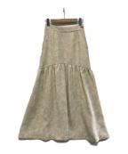 Lily Brown(リリーブラウン)の古着「フラワージャガードスカート」 ホワイト