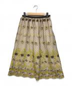 Loulou Willoughby(ルルウィルビー)の古着「フラワー刺繍オーガンジースカート」|ブラウン