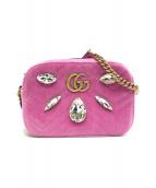 ()の古着「GGマーモントベルベットショルダーバッグ」|ピンク