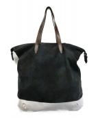 ()の古着「レオパード柄ペンキトートバッグ」 ネイビー×ホワイト