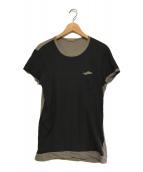 ()の古着「シルク混バイカラーショートスリーブTシャツ」 ブラック×グレー