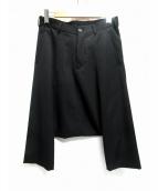 COMME des GARCONS HOMME(コムデギャルソンオム)の古着「ウールクロップドサルエルパンツ」|ブラック