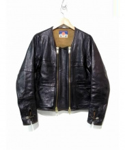 blackmeans(ブラックミーンズ)の古着「加工シープレザーノーカラーライダースジャケット」|ブラック