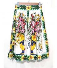 DOLCE & GABBANA(ドルチェ&ガッバーナ)の古着「フラワープリーツスカート」|ホワイト×ブルー