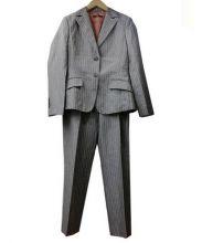 BOSS HUGO BOSS(ボス ヒューゴ ボス)の古着「シルクリネンストライプセットアップスーツ」|カーキ×ピンク