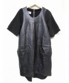 MM6(エムエムシックス)の古着「レザー切替ワンピース」|ブラック