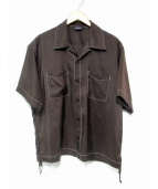 UNUSED(アンユーズド)の古着「シルクハーフスリーブシャツ」|ブラウン