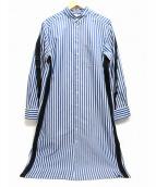 GROUND Y(グランド ワイ)の古着「マオカラーテープデザインストライプロングシャツ」|ホワイト×ブルー