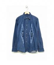 Lucien pellat-finet(ルシアンペラフィネ)の古着「スカルマリファナ刺繍デニムシャツ」|ブルー
