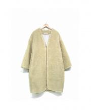 Bonappetit(ボナペティ)の古着「ノーカラーボアフリースコート」|ベージュ