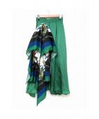 UN3D.(アンスリード)の古着「スカーフドッキングマキシスカート」|グリーン