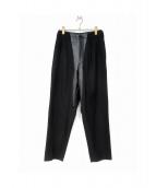 Yohji Yamamoto(ヤマモトヨウジ)の古着「レザー切替パンツ」|ブラック