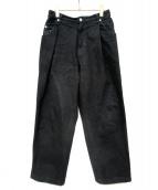 NEON SIGN(ネオンサイン)の古着「ワイドデニムスラックス」|ブラック