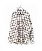 KIIT(キート)の古着「ビッグシルエットチェックシャツ」|ベージュ