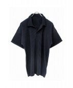 HOMME PLISSE ISSEY MIYAKE](オム プリッセ イッセイ ミヤケ)の古着「プリーツポロシャツ」|ネイビー