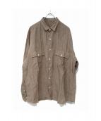 PORTER CLASSIC(ポータークラシック)の古着「リネンロールアップシャツ」 ベージュ