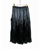 ROBE DE CHAMBRE COMME DES GARCONS(ローブドシャンブルコムデギャルソン)の古着「サテンデザインスカート」|ブラック