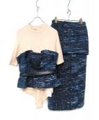 Lautashi(ラウタシー)の古着「ニット切替デザインセットアップ」|ネイビー
