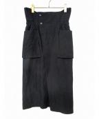 Lautashi(ラウタシー)の古着「リネン混ラップ調スカート」 ブラック